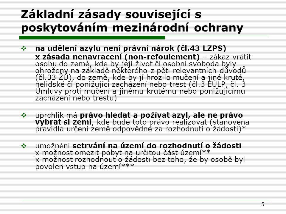 5 Základní zásady související s poskytováním mezinárodní ochrany  na udělení azylu není právní nárok (čl.43 LZPS) x zásada nenavracení (non-refouleme