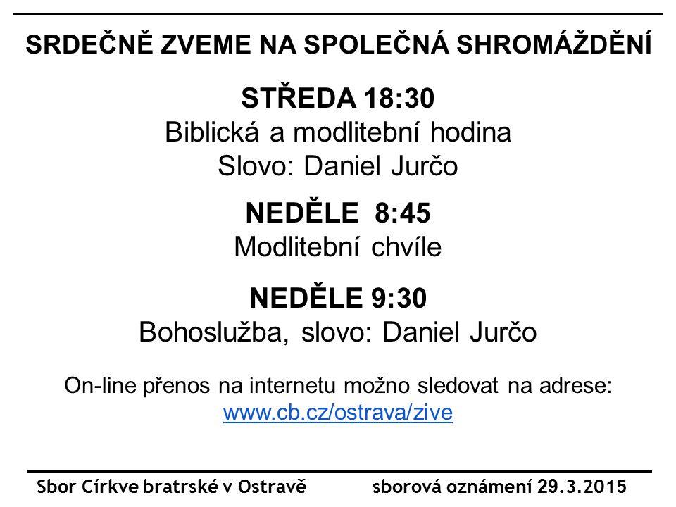 Sbor Církve bratrské v Ostravě sborová oznámení 29.3.