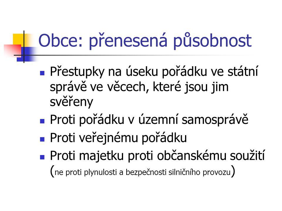 Obce: přenesená působnost Přestupky na úseku pořádku ve státní správě ve věcech, které jsou jim svěřeny Proti pořádku v územní samosprávě Proti veřejn