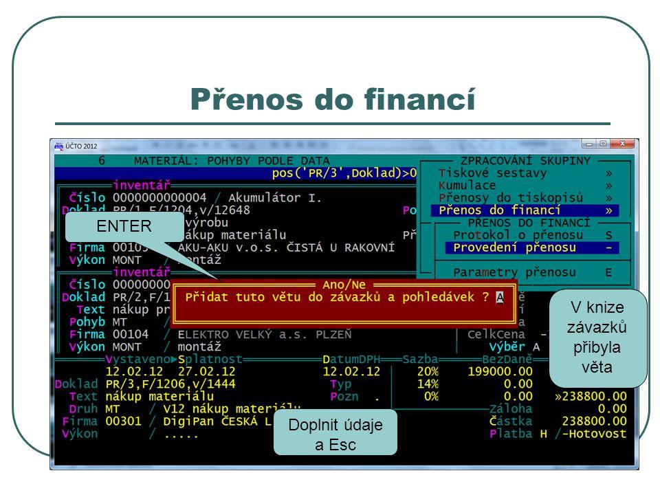 Přenos do financí ENTER Doplnit údaje a Esc V knize závazků přibyla věta