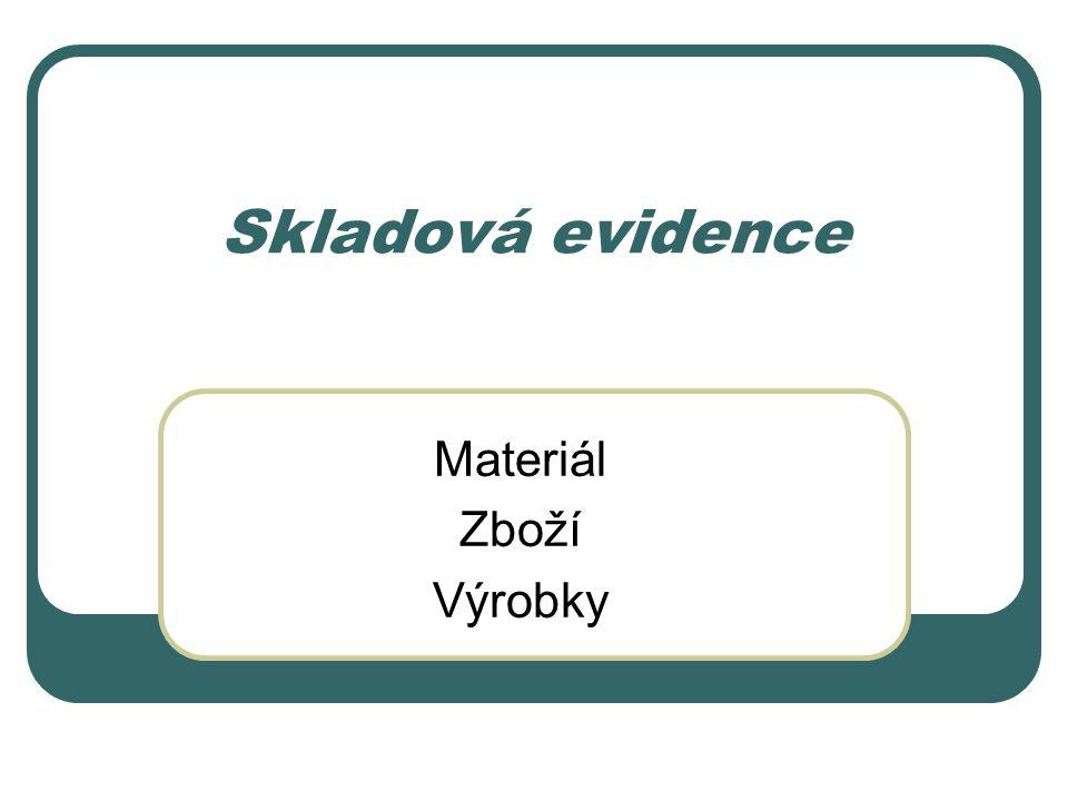 Skladová evidence Materiál Zboží Výrobky