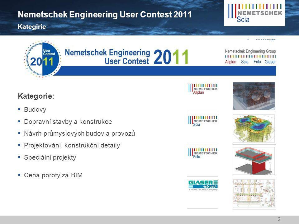 2 Nemetschek Engineering User Contest 2011 Kategirie Kategorie:  Budovy  Dopravní stavby a konstrukce  Návrh průmyslových budov a provozů  Projektování, konstrukční detaily  Speciální projekty  Cena poroty za BIM