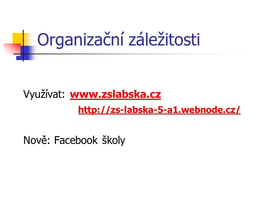 Organizační záležitosti Využívat: www.zslabska.czwww.zslabska.cz http://zs-labska-5-a1.webnode.cz/ Nově: Facebook školy