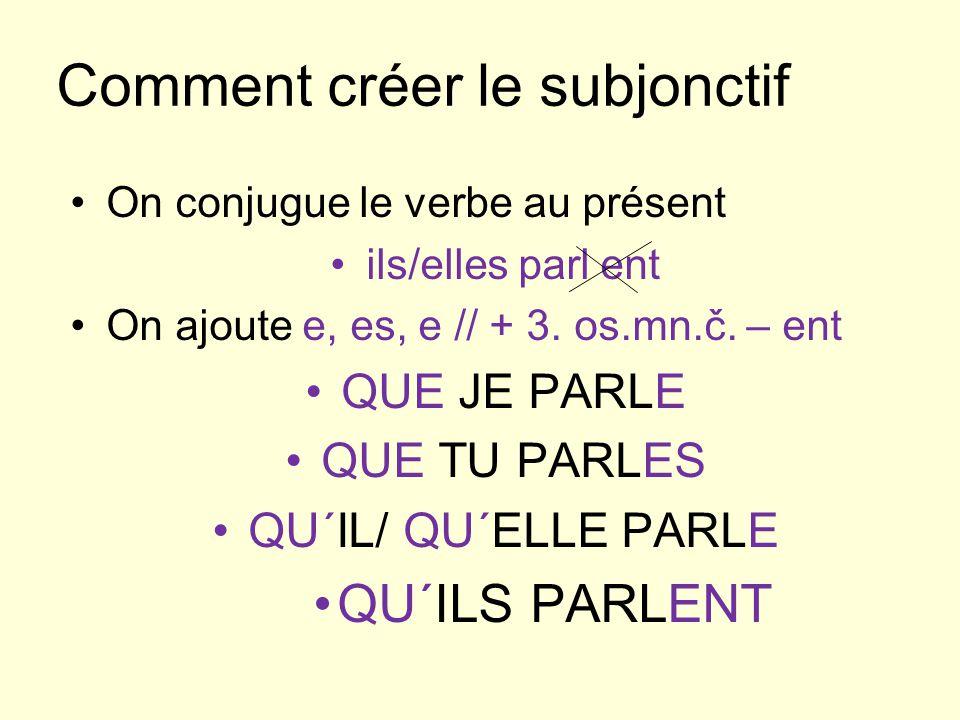 Comment créer le subjonctif On conjugue le verbe au présent ils/elles parl ent On ajoute e, es, e // + 3.