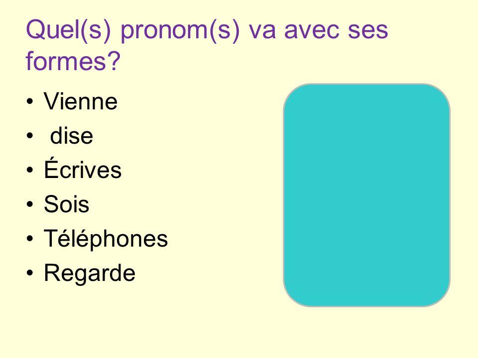 Quel(s) pronom(s) va avec ses formes.