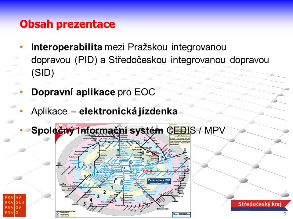 2 Interoperabilita mezi Pražskou integrovanou dopravou (PID) a Středočeskou integrovanou dopravou (SID) Dopravní aplikace pro EOC Aplikace – elektroni