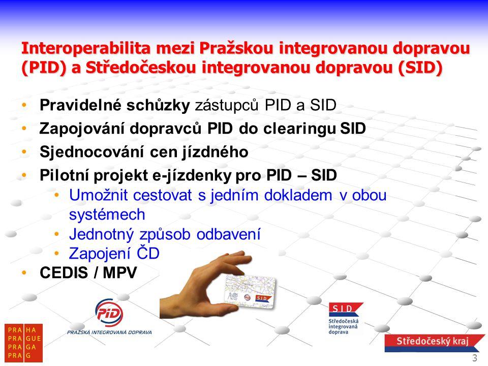 Interoperabilita mezi Pražskou integrovanou dopravou (PID) a Středočeskou integrovanou dopravou (SID) Pravidelné schůzky zástupců PID a SID Zapojování