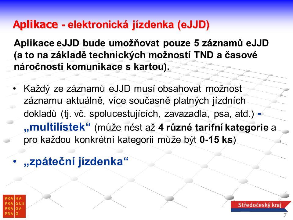 A plikace - elektronická jízdenka (eJJD) Každý ze záznamů eJJD musí obsahovat možnost záznamu aktuálně, více současně platných jízdních dokladů (tj. v