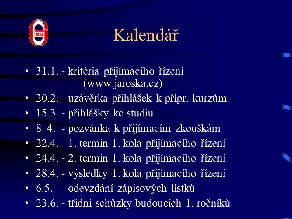 Kalendář 31.1. - kritéria přijímacího řízení (www.jaroska.cz) 20.2. - uzávěrka přihlášek k přípr. kurzům 15.3. - přihlášky ke studiu 8. 4. - pozvánka