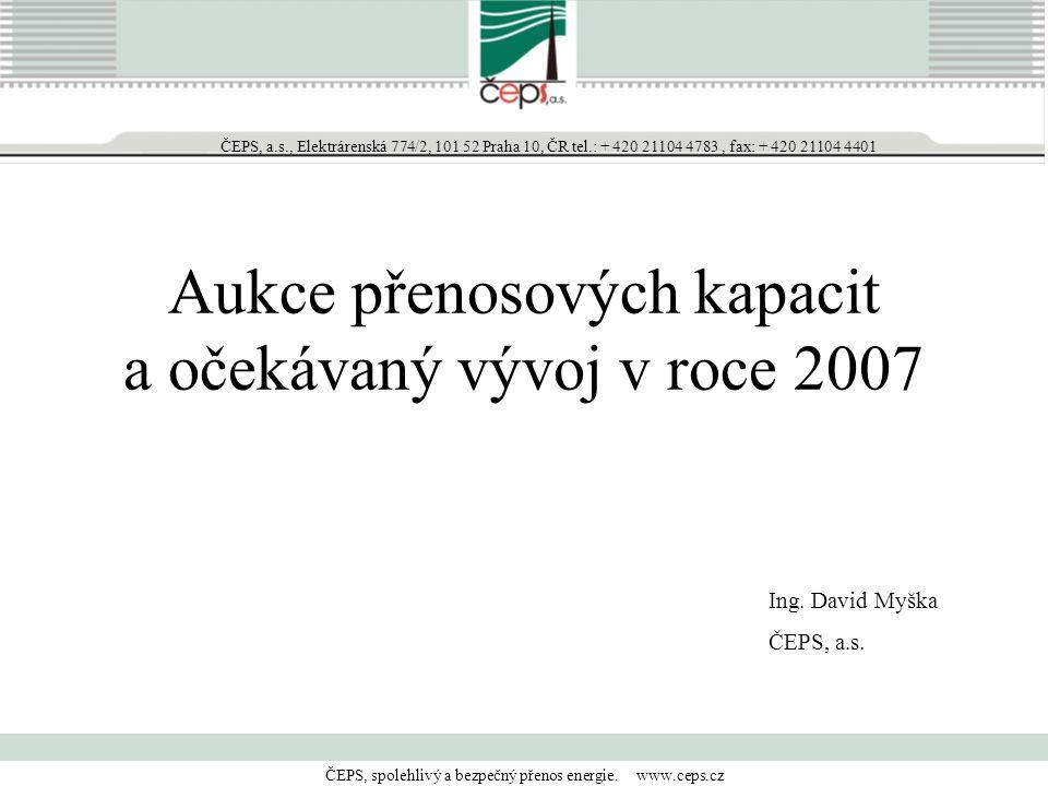 """Historie alokace přeshraničních přenosových kapacit na hranicích ČEPS 2001 tranzity  """"first come first served 2002  proporcionální krácení + jednostranné aukce 2003  bilaterální aukce roční a měsíční 2004  bilaterální aukce roční, měsíční a denní 2005  bilaterální aukce (APG, E.ON, SEPS), multiraterální (PSE-O, VE-T) 2006  bilaterální (APG), multiraterální (E.ON, PSE-O, SEPS, VE-T)"""