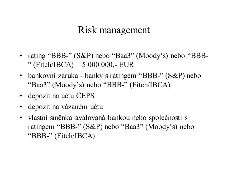 "Risk management rating ""BBB-"" (S&P) nebo ""Baa3"" (Moody's) nebo ""BBB- "" (Fitch/IBCA) = 5 000 000,- EUR bankovní záruka - banky s ratingem ""BBB-"" (S&P)"