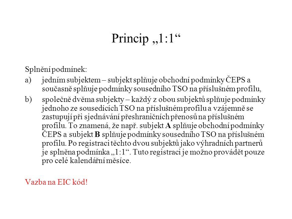 """Princip """"1:1"""" Splnění podmínek: a)jedním subjektem – subjekt splňuje obchodní podmínky ČEPS a současně splňuje podmínky sousedního TSO na příslušném p"""