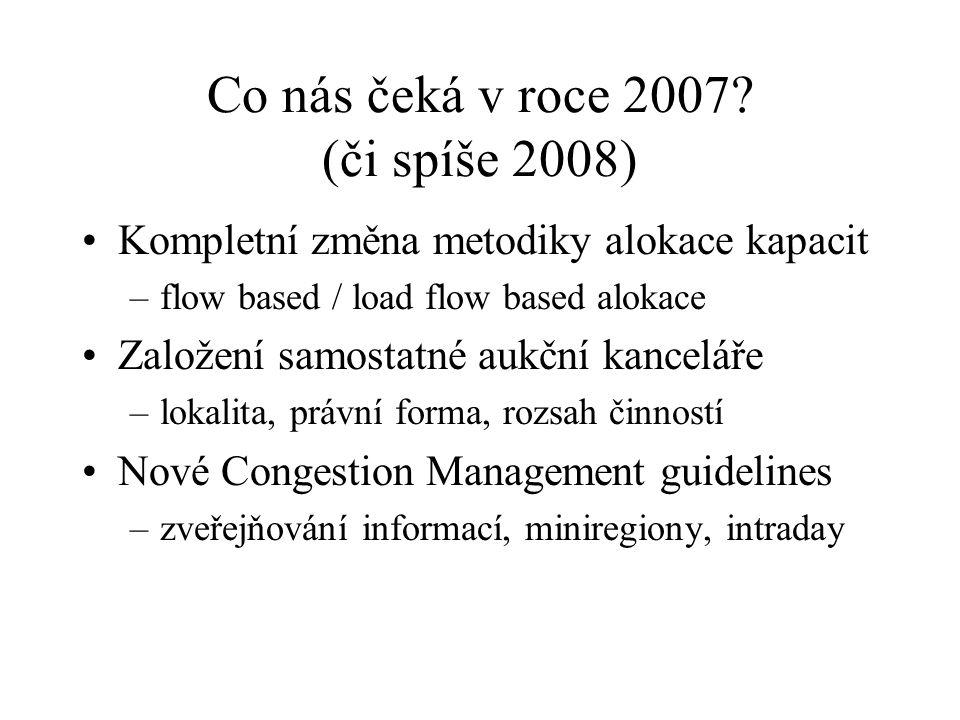 Co nás čeká v roce 2007? (či spíše 2008) Kompletní změna metodiky alokace kapacit –flow based / load flow based alokace Založení samostatné aukční kan