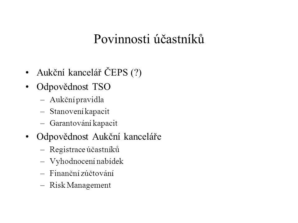 Povinnosti účastníků Aukční kancelář ČEPS (?) Odpovědnost TSO –Aukční pravidla –Stanovení kapacit –Garantování kapacit Odpovědnost Aukční kanceláře –R
