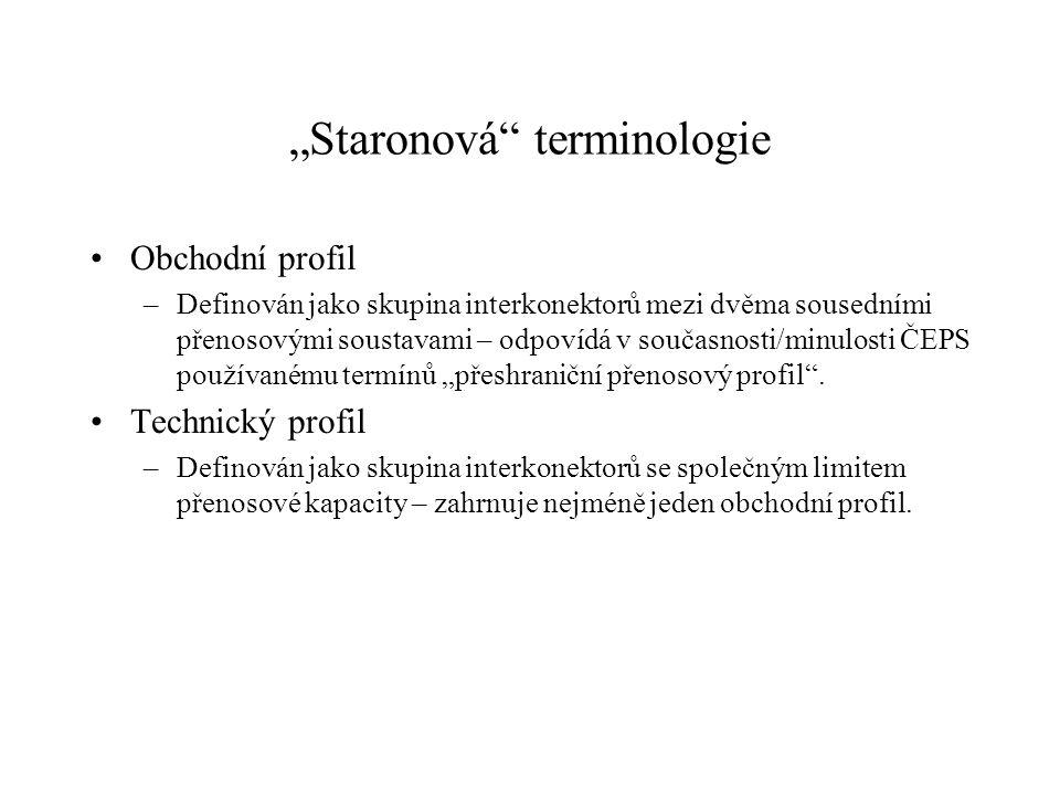 """""""Staronová"""" terminologie Obchodní profil –Definován jako skupina interkonektorů mezi dvěma sousedními přenosovými soustavami – odpovídá v současnosti/"""