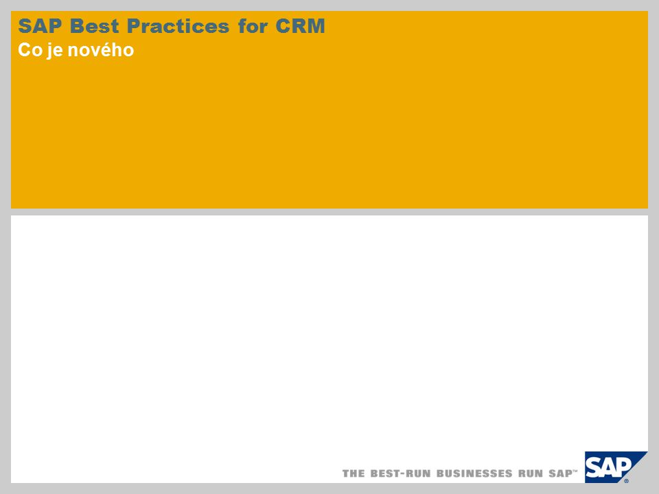 SAP Best Practices for CRM Co je nového