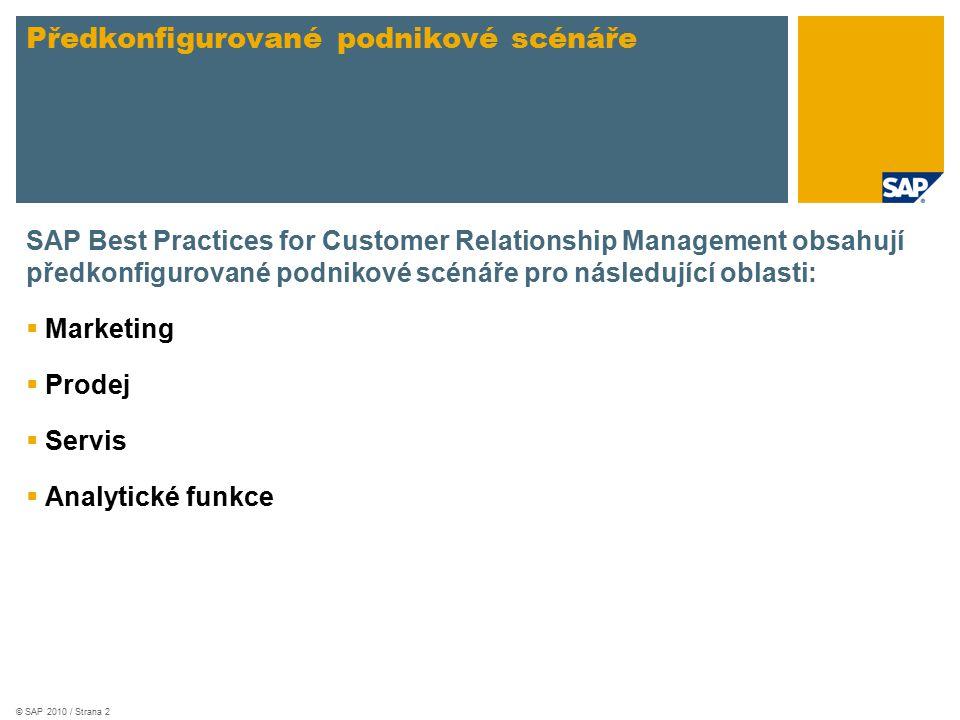 © SAP 2010 / Strana 2 SAP Best Practices for Customer Relationship Management obsahují předkonfigurované podnikové scénáře pro následující oblasti:  Marketing  Prodej  Servis  Analytické funkce Předkonfigurované podnikové scénáře