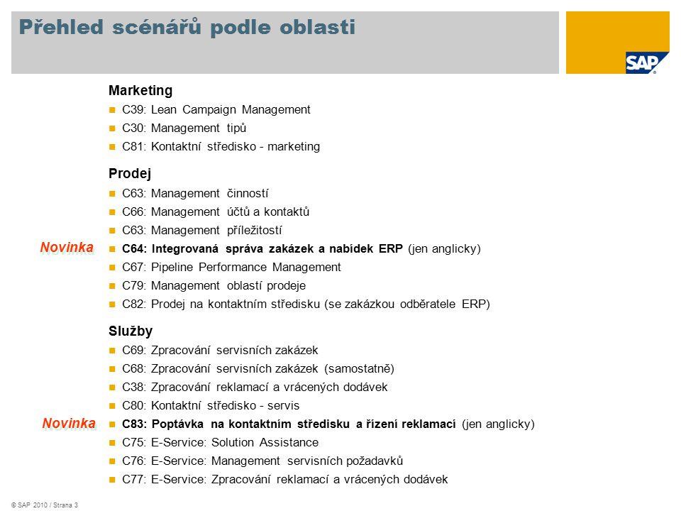 © SAP 2010 / Strana 3 Přehled scénářů podle oblasti Marketing C39: Lean Campaign Management C30: Management tipů C81: Kontaktní středisko - marketing Prodej C63: Management činností C66: Management účtů a kontaktů C63: Management příležitostí C64: Integrovaná správa zakázek a nabídek ERP (jen anglicky) C67: Pipeline Performance Management C79: Management oblastí prodeje C82: Prodej na kontaktním středisku (se zakázkou odběratele ERP) Služby C69: Zpracování servisních zakázek C68: Zpracování servisních zakázek (samostatně) C38: Zpracování reklamací a vrácených dodávek C80: Kontaktní středisko - servis C83: Poptávka na kontaktním středisku a řízení reklamací (jen anglicky) C75: E-Service: Solution Assistance C76: E-Service: Management servisních požadavků C77: E-Service: Zpracování reklamací a vrácených dodávek Novinka