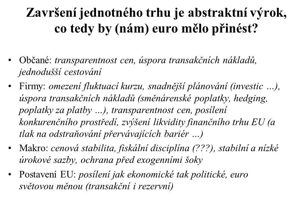 Završení jednotného trhu je abstraktní výrok, co tedy by (nám) euro mělo přinést? Občané: transparentnost cen, úspora transakčních nákladů, jednodušší
