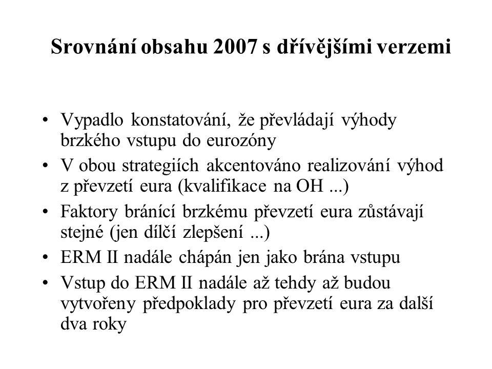 Srovnání obsahu 2007 s dřívějšími verzemi Vypadlo konstatování, že převládají výhody brzkého vstupu do eurozóny V obou strategiích akcentováno realizo