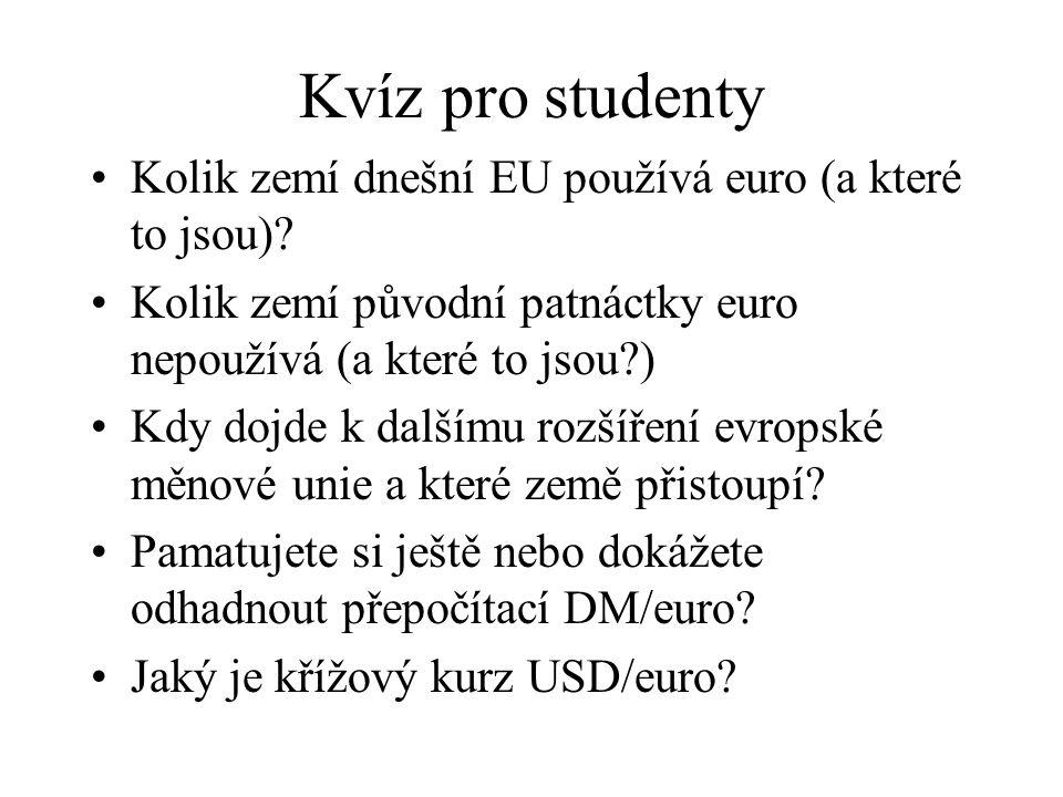 Kvíz pro studenty Kolik zemí dnešní EU používá euro (a které to jsou)? Kolik zemí původní patnáctky euro nepoužívá (a které to jsou?) Kdy dojde k dalš