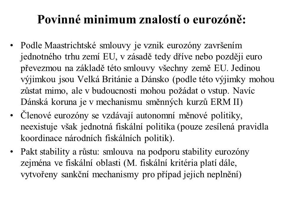 Povinné minimum znalostí o eurozóně: Podle Maastrichtské smlouvy je vznik eurozóny završením jednotného trhu zemí EU, v zásadě tedy dříve nebo později