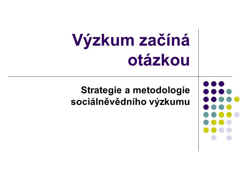 Výzkum začíná otázkou Strategie a metodologie sociálněvědního výzkumu