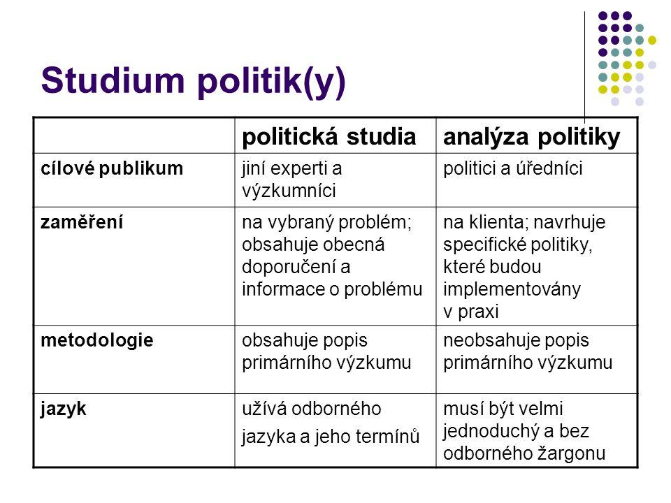 Studium politik(y) politická studiaanalýza politiky cílové publikumjiní experti a výzkumníci politici a úředníci zaměřenína vybraný problém; obsahuje