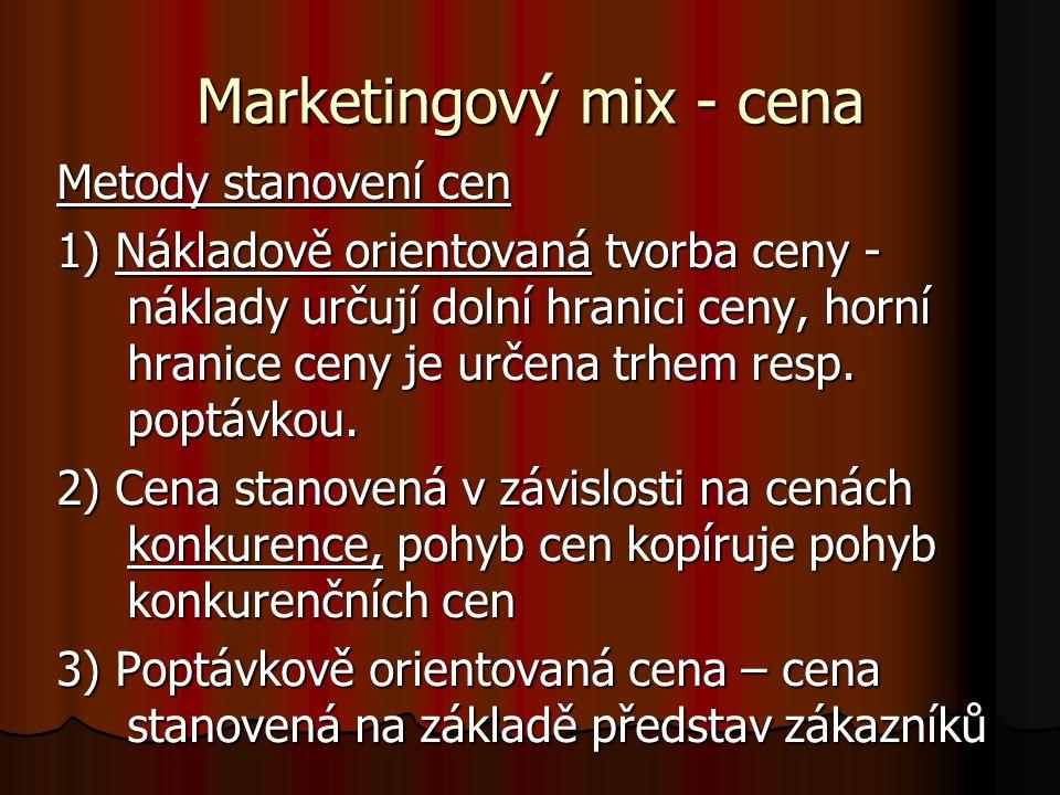 Marketingový mix - cena Metody stanovení cen 1) Nákladově orientovaná tvorba ceny - náklady určují dolní hranici ceny, horní hranice ceny je určena tr