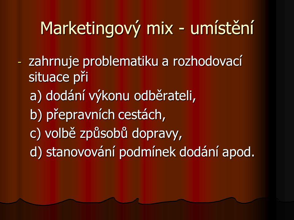 Marketingový mix - umístění - zahrnuje problematiku a rozhodovací situace při a) dodání výkonu odběrateli, a) dodání výkonu odběrateli, b) přepravních cestách, b) přepravních cestách, c) volbě způsobů dopravy, c) volbě způsobů dopravy, d) stanovování podmínek dodání apod.