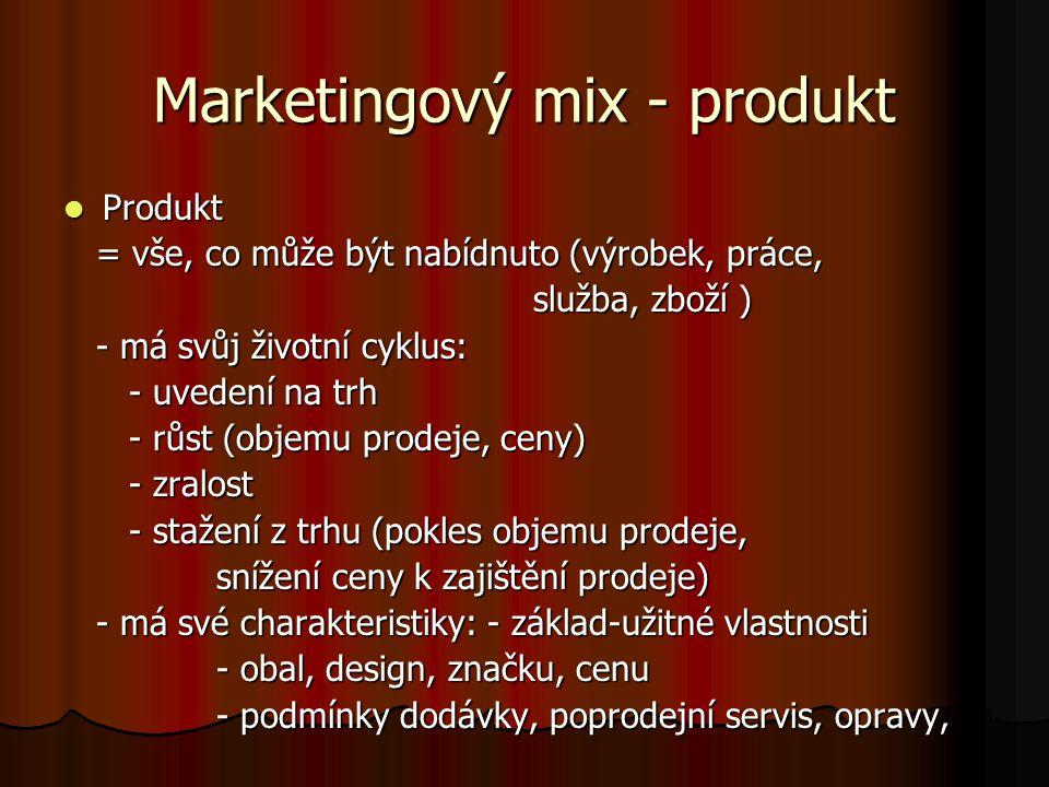 Marketingový mix - produkt Produkt Produkt = vše, co může být nabídnuto (výrobek, práce, = vše, co může být nabídnuto (výrobek, práce, služba, zboží ) služba, zboží ) - má svůj životní cyklus: - má svůj životní cyklus: - uvedení na trh - uvedení na trh - růst (objemu prodeje, ceny) - růst (objemu prodeje, ceny) - zralost - zralost - stažení z trhu (pokles objemu prodeje, - stažení z trhu (pokles objemu prodeje, snížení ceny k zajištění prodeje) snížení ceny k zajištění prodeje) - má své charakteristiky: - základ-užitné vlastnosti - má své charakteristiky: - základ-užitné vlastnosti - obal, design, značku, cenu - obal, design, značku, cenu - podmínky dodávky, poprodejní servis, opravy, - podmínky dodávky, poprodejní servis, opravy,