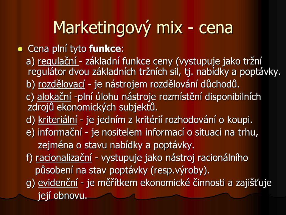 Marketingový mix - cena Cena plní tyto funkce: Cena plní tyto funkce: a) regulační - základní funkce ceny (vystupuje jako tržní regulátor dvou základn