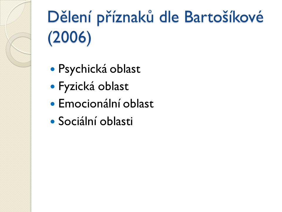 Dělení příznaků dle Bartošíkové (2006) Psychická oblast Fyzická oblast Emocionální oblast Sociální oblasti