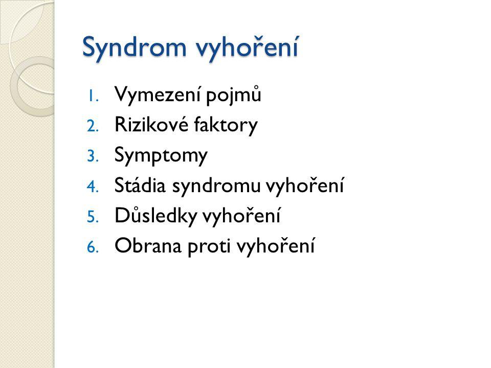 1.Vymezení pojmů 2. Rizikové faktory 3. Symptomy 4.