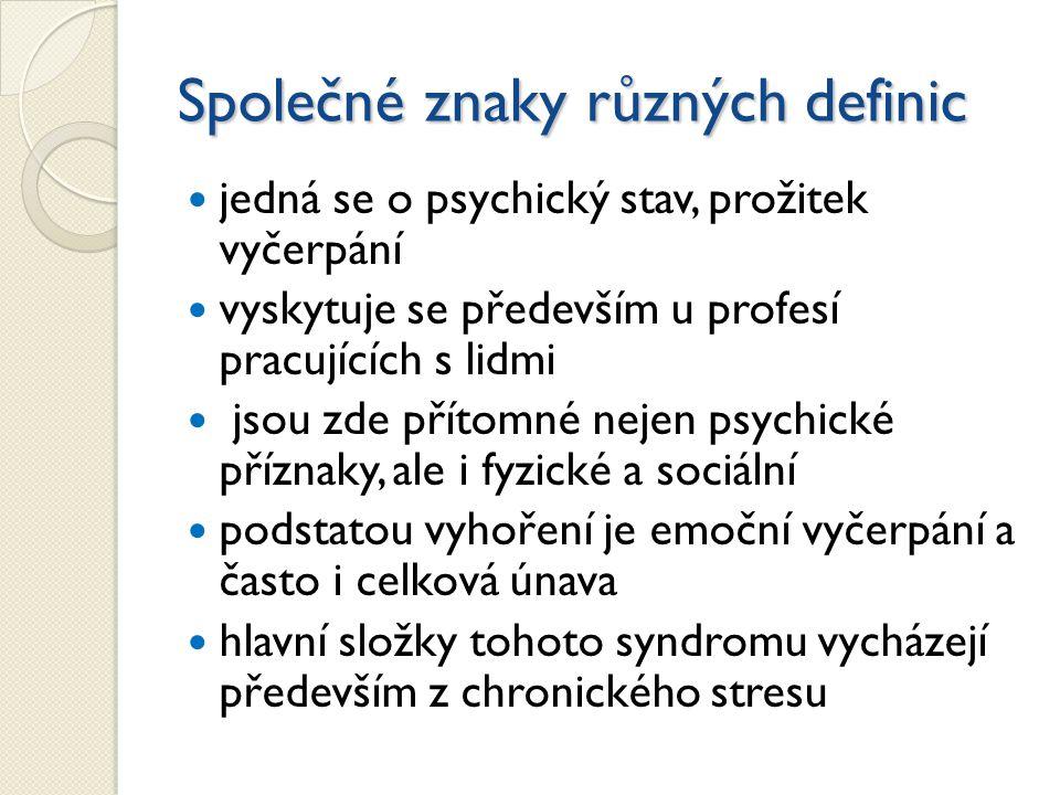 Společné znaky různých definic jedná se o psychický stav, prožitek vyčerpání vyskytuje se především u profesí pracujících s lidmi jsou zde přítomné nejen psychické příznaky, ale i fyzické a sociální podstatou vyhoření je emoční vyčerpání a často i celková únava hlavní složky tohoto syndromu vycházejí především z chronického stresu