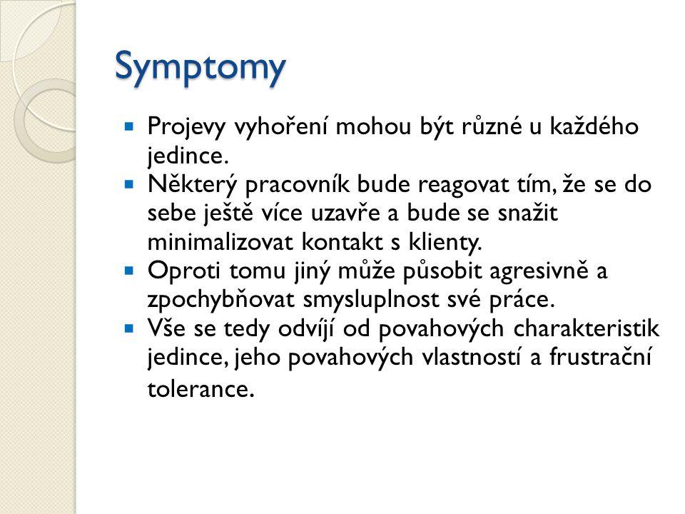 Symptomy  Projevy vyhoření mohou být různé u každého jedince.