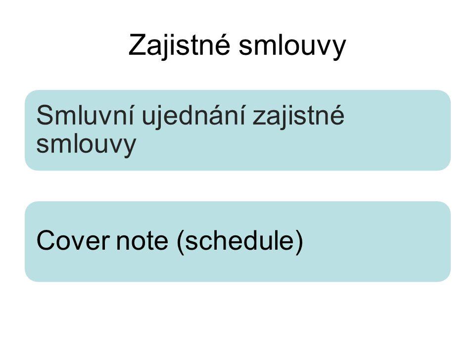 Zajistné smlouvy Smluvní ujednání zajistné smlouvy Cover note (schedule)