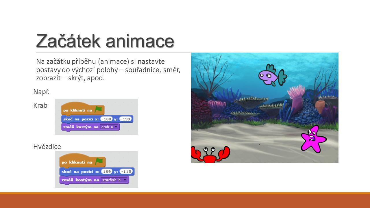 Začátek animace Na začátku příběhu (animace) si nastavte postavy do výchozí polohy – souřadnice, směr, zobrazit – skrýt, apod.