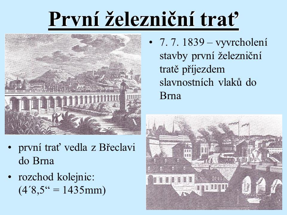 """První železniční trať první trať vedla z Břeclavi do Brna rozchod kolejnic: (4´8,5"""" = 1435mm) 7. 7. 1839 – vyvrcholení stavby první železniční tratě p"""