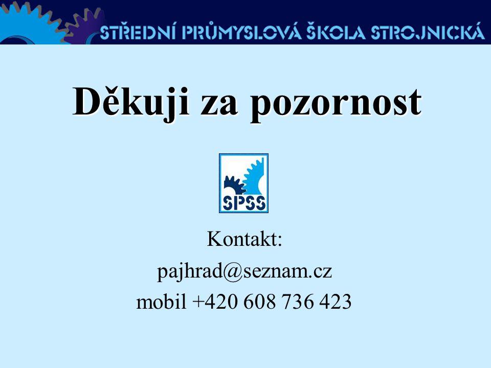 Děkuji za pozornost Kontakt: pajhrad@seznam.cz mobil +420 608 736 423