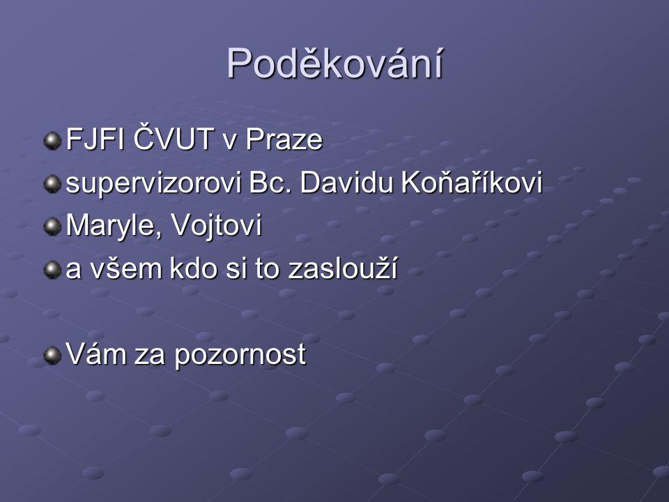 Poděkování FJFI ČVUT v Praze supervizorovi Bc. Davidu Koňaříkovi Maryle, Vojtovi a všem kdo si to zaslouží Vám za pozornost