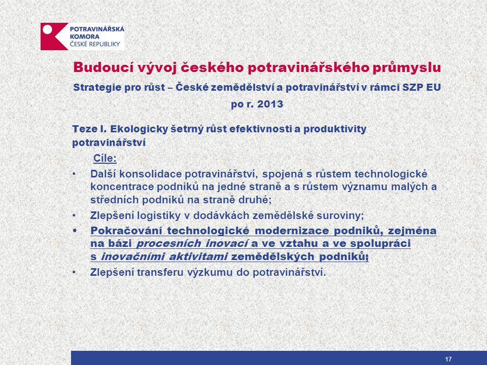 Budoucí vývoj českého potravinářského průmyslu Teze II.