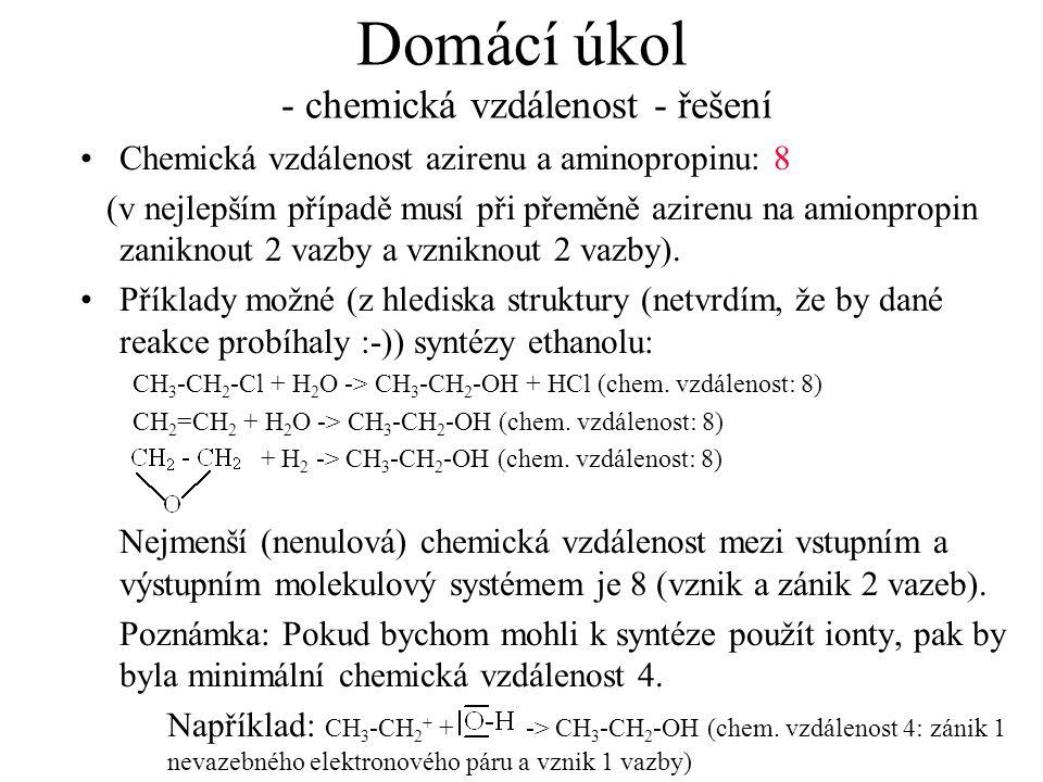 Domácí úkol - chemická vzdálenost - řešení Chemická vzdálenost azirenu a aminopropinu: 8 (v nejlepším případě musí při přeměně azirenu na amionpropin