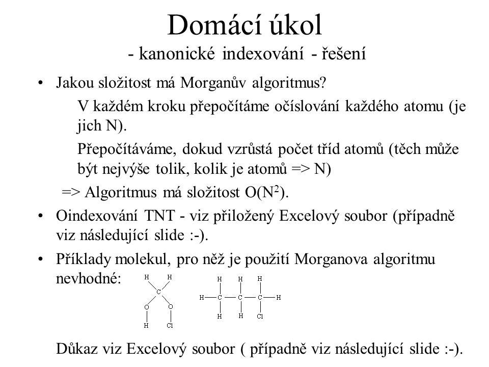 Domácí úkol - kanonické indexování - řešení Jakou složitost má Morganův algoritmus? V každém kroku přepočítáme očíslování každého atomu (je jich N). P