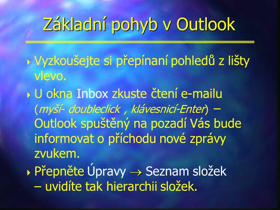 Spuštění Outlook  z ikony na ploše  také z položky Start  Programy  Microsoft Outlook  automatický start Outlook při např.