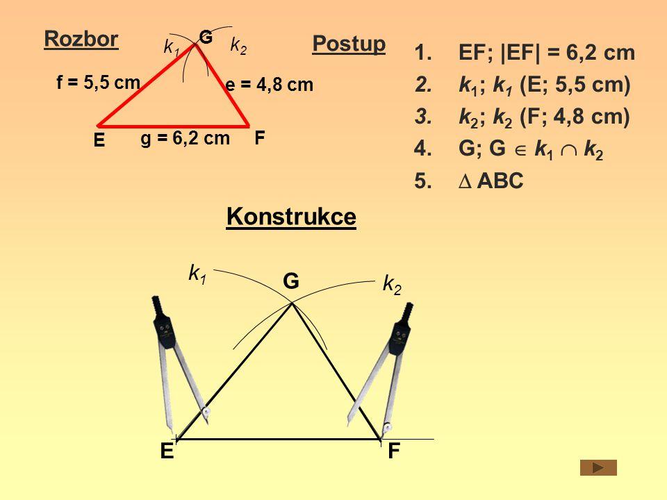 Rozbor e = 4,8 cm E F G f = 5,5 cm g = 6,2 cm k1k1 k2k2 Postup 1.EF; |EF| = 6,2 cm 2.k 1 ; k 1 (E; 5,5 cm) 3.k 2 ; k 2 (F; 4,8 cm) 4.G; G  k 1  k