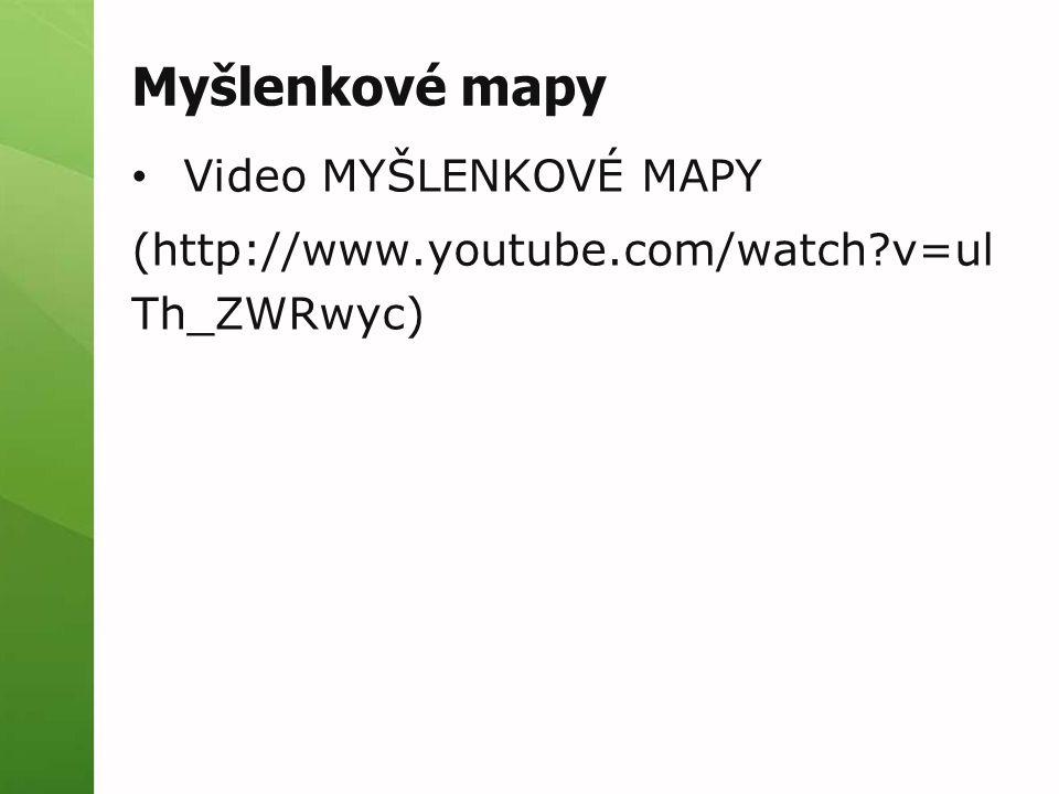 Myšlenkové mapy Video MYŠLENKOVÉ MAPY (http://www.youtube.com/watch?v=ul Th_ZWRwyc)