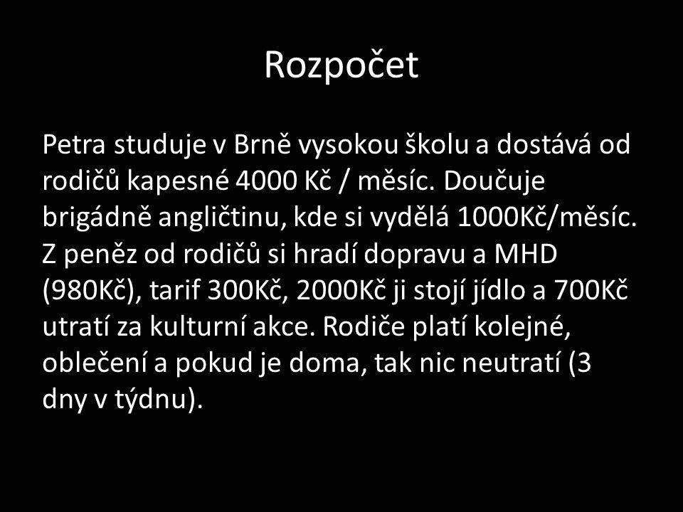 Rozpočet Petra studuje v Brně vysokou školu a dostává od rodičů kapesné 4000 Kč / měsíc.
