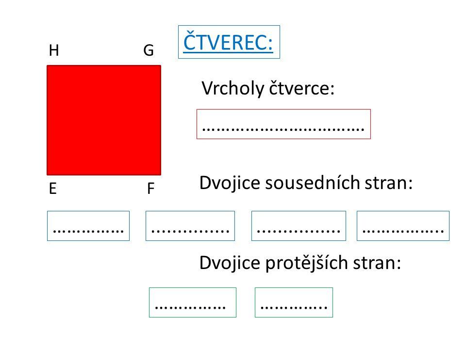 ČTVEREC: EF GH Vrcholy čtverce: E, F, G,H Dvojice sousedních stran: FG a GH GH a HE HE a EF EF a FG Dvojice protějších stran: EF a HG EH a FG Kontrola :