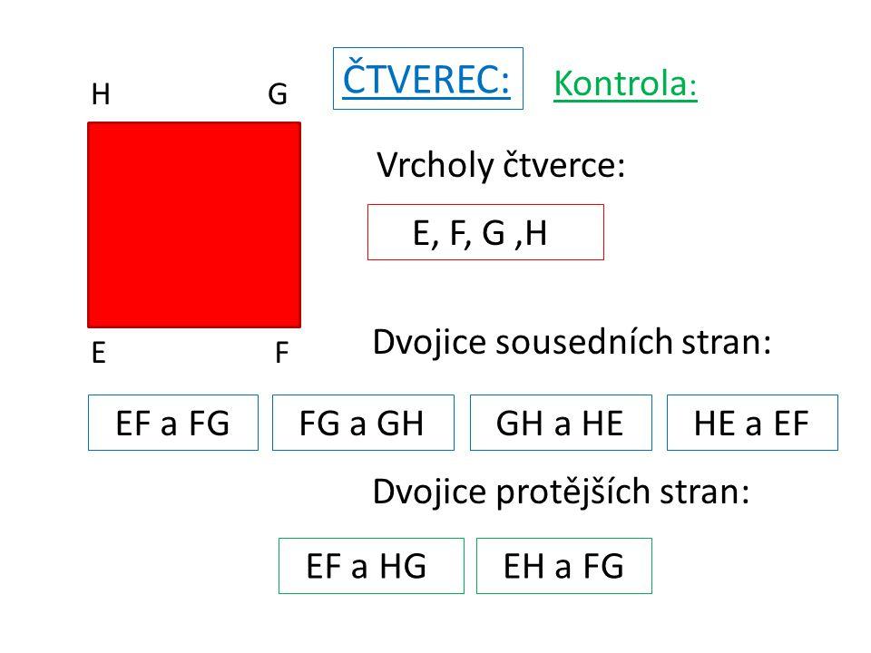 EF G H Sousední strany čtverce mají ……………..délku, …………….